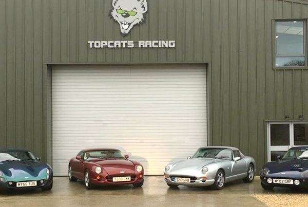 selection of four tvrs parked outside topcats racing workshop