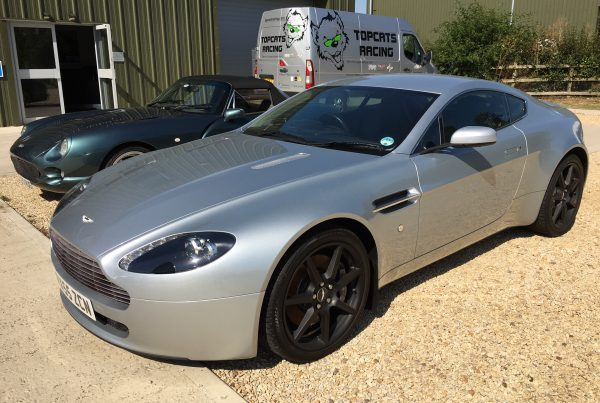 silver Aston Martin V8 Vantage (2006) at topcats racing workshop