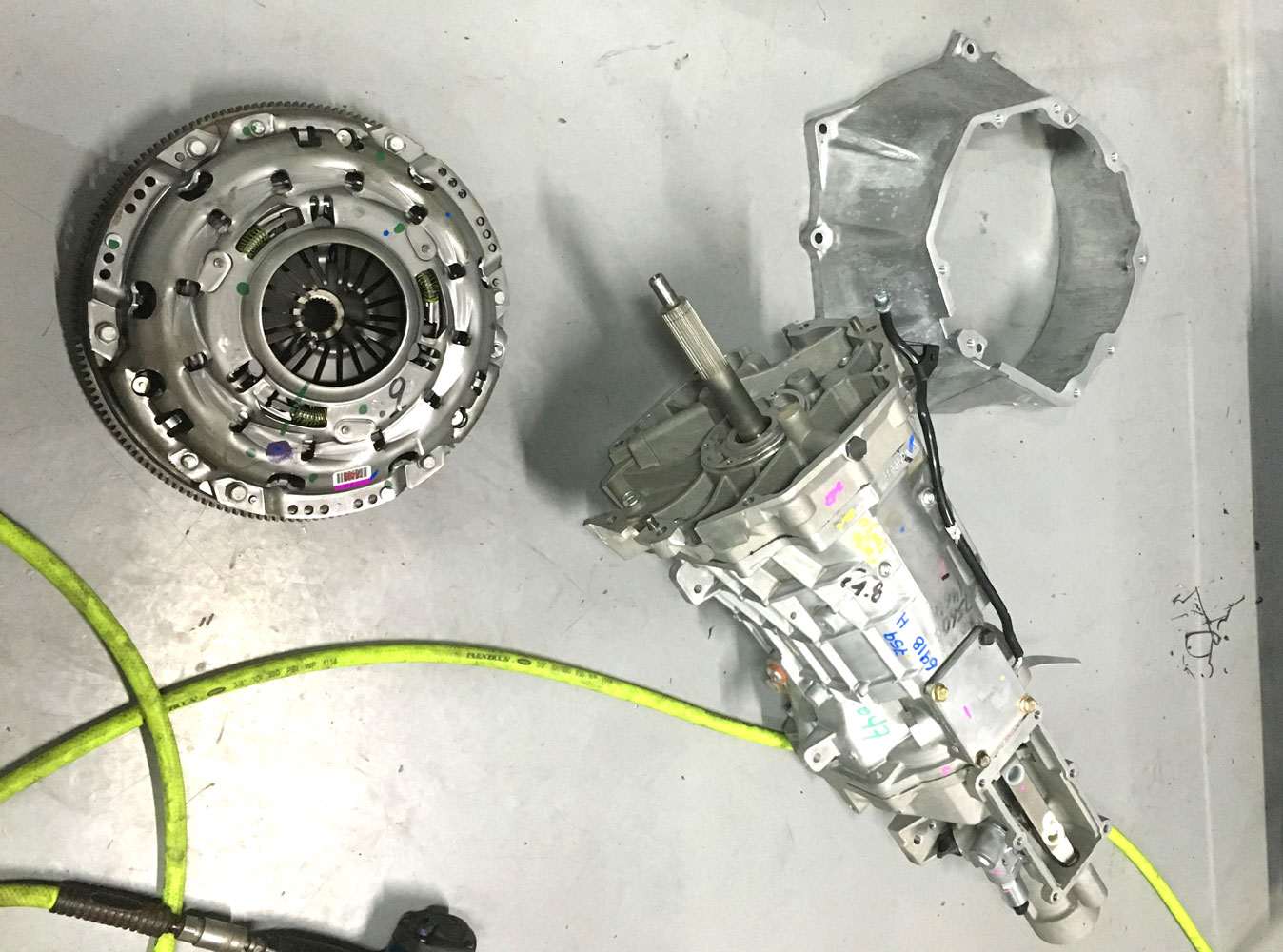 clutch and transmission assembly awaiting installation at topcats racing workshop