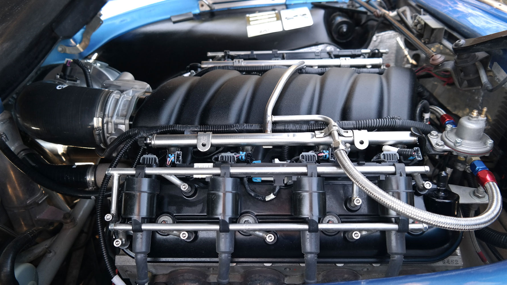 close up of V8 chevy ls engine conversion in TVR