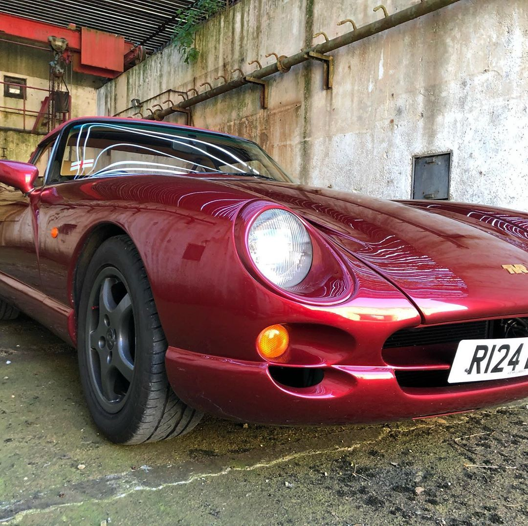 cherry red 1998 tvr chimaera at topcats racing workshop