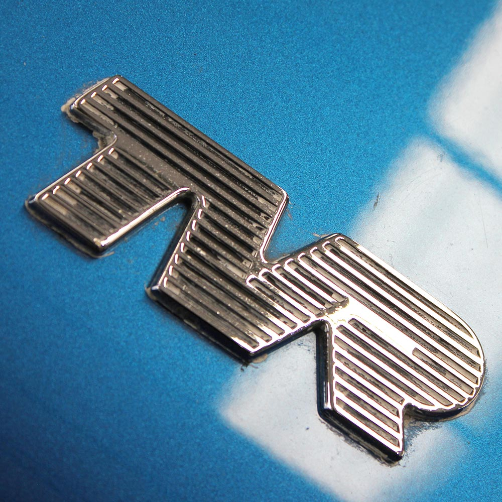 close up of tvr emblem