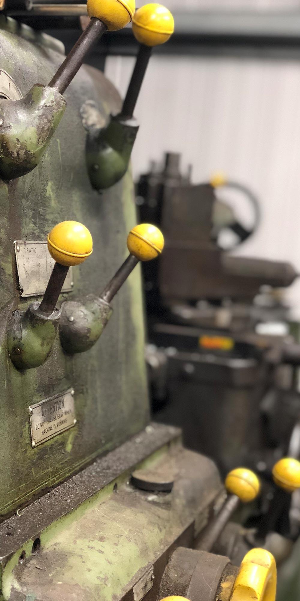close up of lathe controls at topcats racing workshop