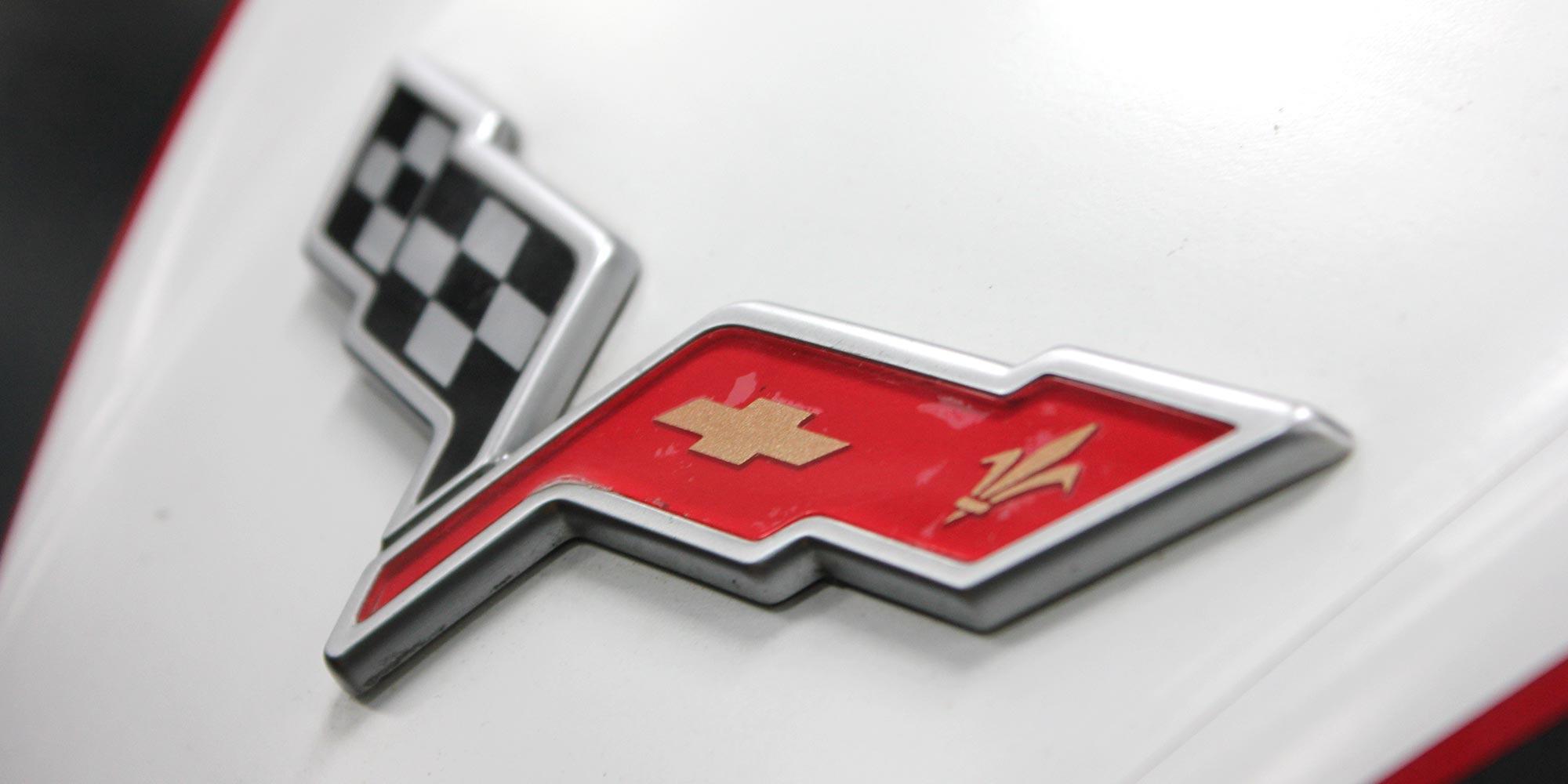 close up of chevrolet emblem