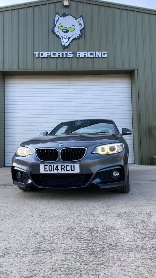 BMW M225d M Sport (2014) parked outside topcats racing workshop
